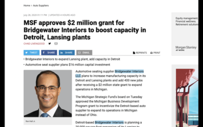 MSF Approves $2 Million Grant For Bridgewater Interiors To Boost Capacity In Detroit, Lansing Plants (2020)